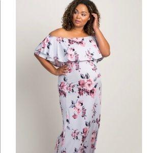 Pink blush floral off the shoulder maxi dress
